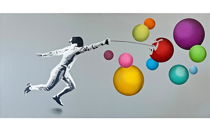 Fencer vs Bubbles Original Canvas