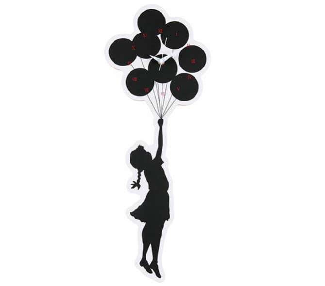 Flying Balloons Girl 2rd Wall Clock